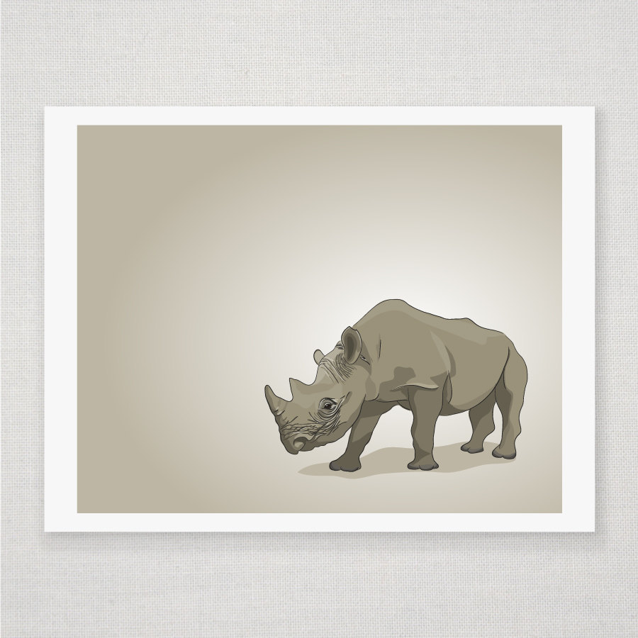 Brown Rhino - Illustrated Print - 8 x 10 Archival Matte Print