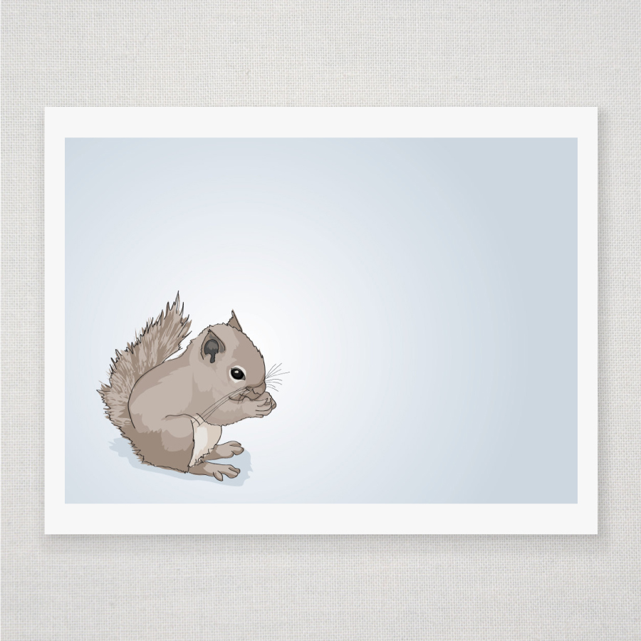 Baby Squirrel on Blue - Illustrated Print - 8 x 10 Archival Matte