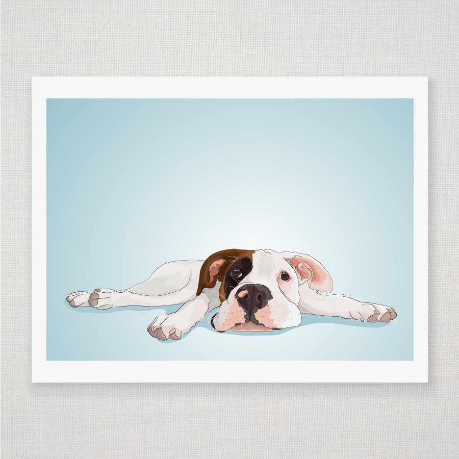 Boxer Puppy - Dog Portrait - Blue Illustrated Print - 8 x 10 Archival Matte