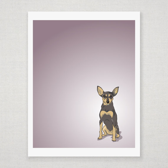 Chili the Mini Pinscher - Dog Illustration - 8 x 10 Print