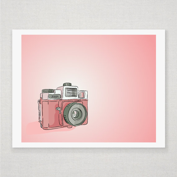 Spring Pink Holga Camera - Illustrated Print - 8 x 10 Archival Matte