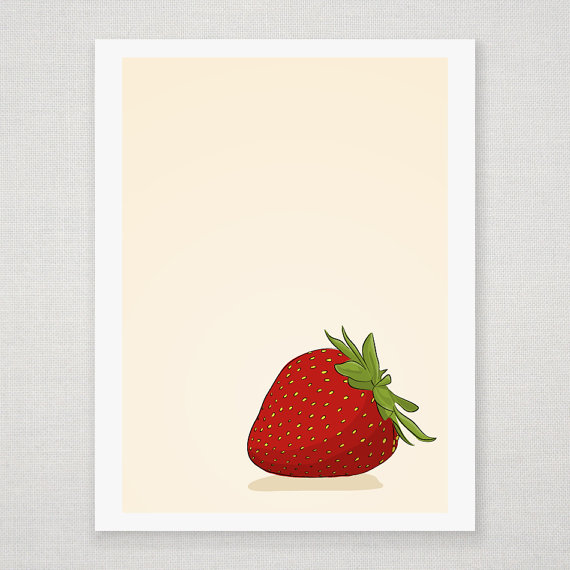 Red Strawberry - Illustrated Print - 8 x 10 Archival Matte