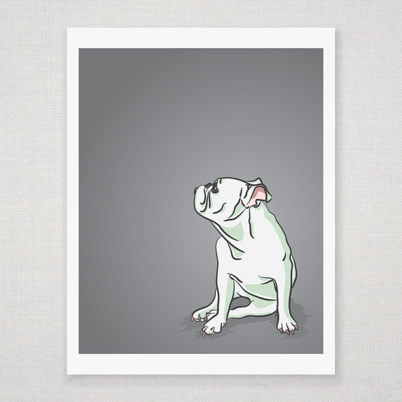 Mini English Bulldog Portrait - Gray Illustrated Print - 8 x 10 Archival Matte