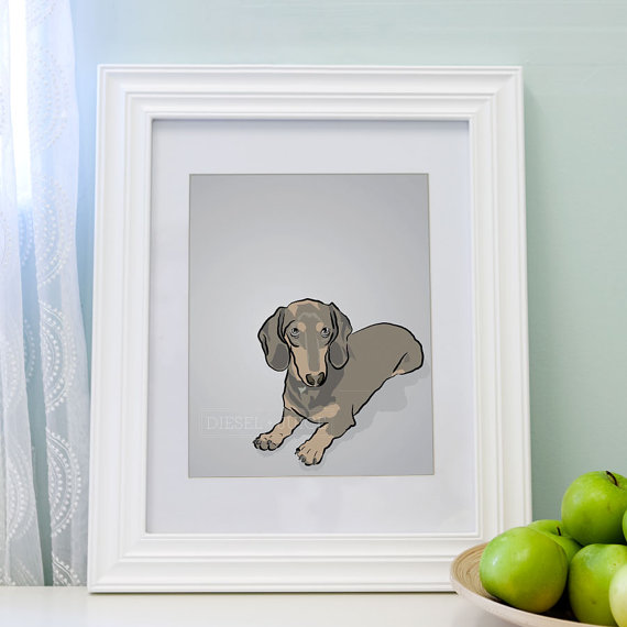 Mini Dauschund Dog Portrait - Gray Digitally Illustrated - 5 x 7 Archival Matte Print