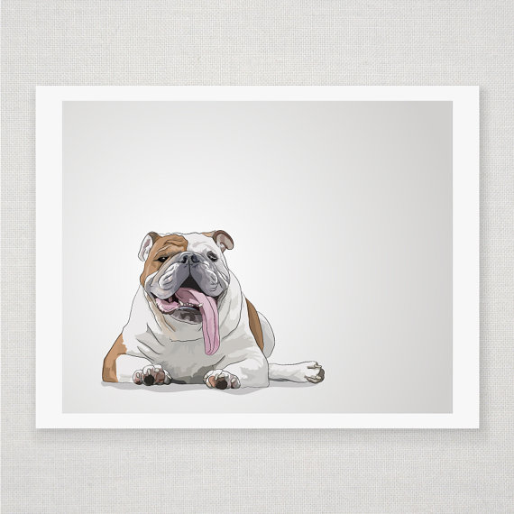 Humphrey the Bulldog - Illustrated Print - 5 x 7 Archival Matte
