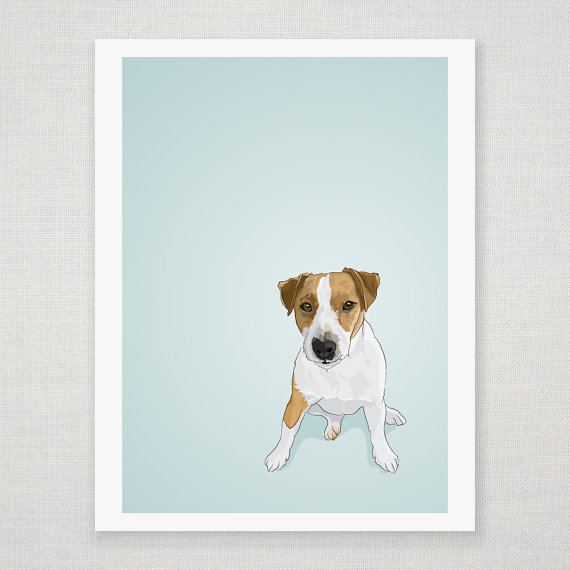 Jack Russell Terrier - Blue Illustrated Print - 8 x 10 Archival Matte