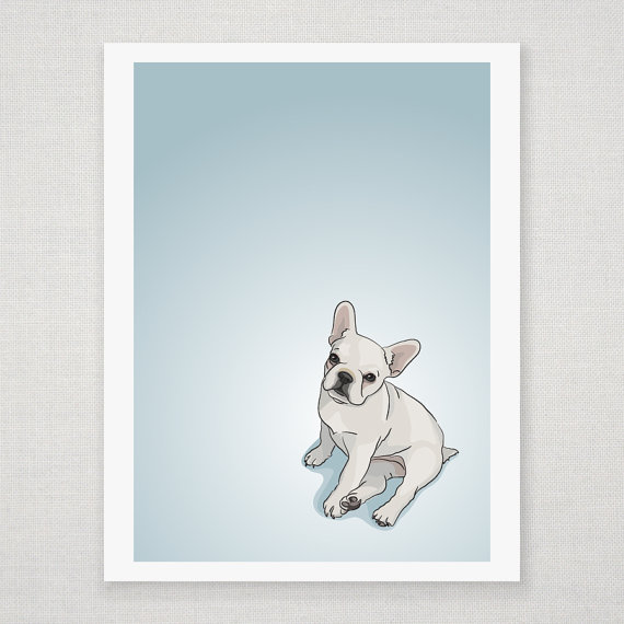 White French Bulldog Puppy - Illustrated Print - 8 x 10 Archival Matte
