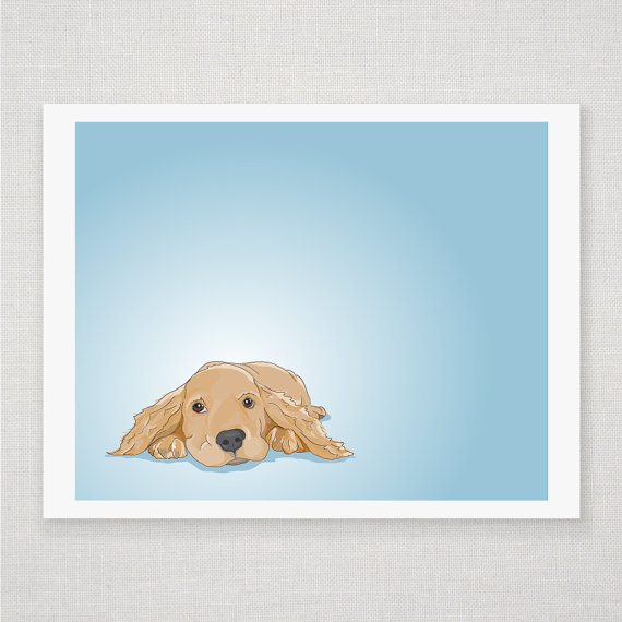 Cocker Spaniel Dog Portrait - Blue Illustrated Print - 8 x 10 Archival Matte