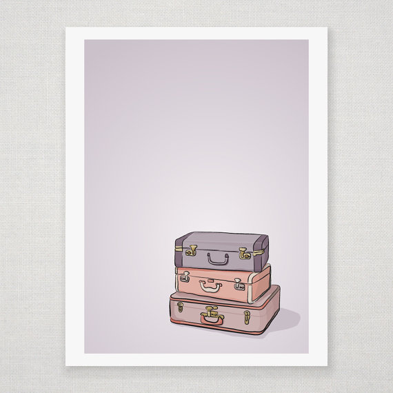 Stack of Suitcases - Purple Illustration - 5 x 7 Matte Print