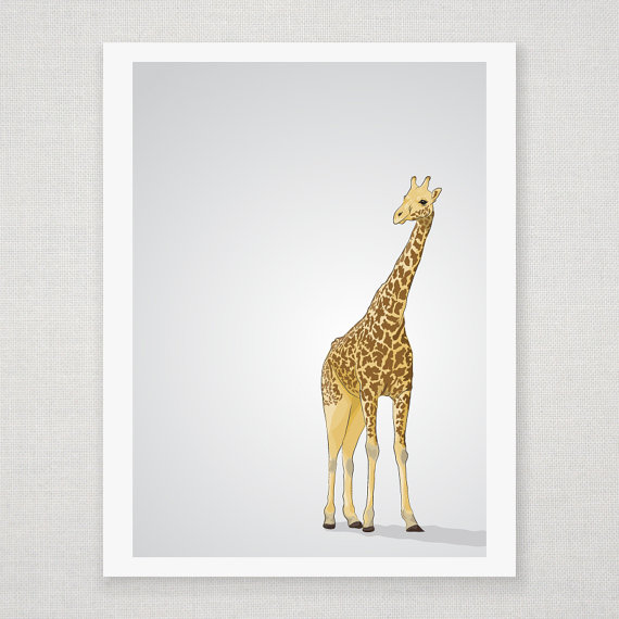 Yellow and Brown Giraffe - Gray Illustrated Print - 8 x 10 Archival Matte