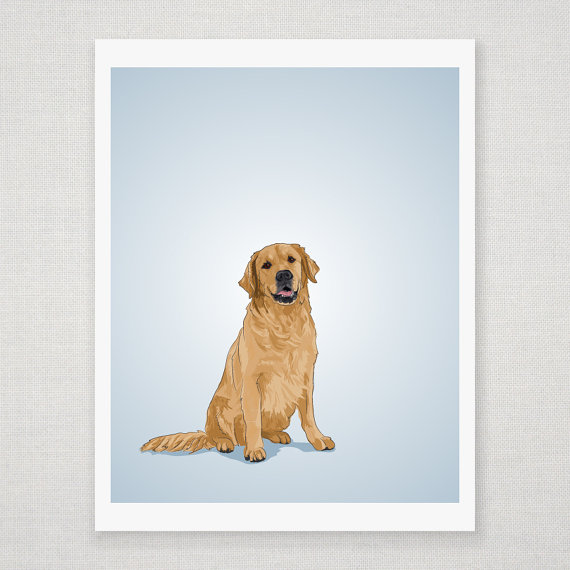 Golden Retriever Dog Portrait - Blue Illustrated Print - 8 x 10 Archival Matte