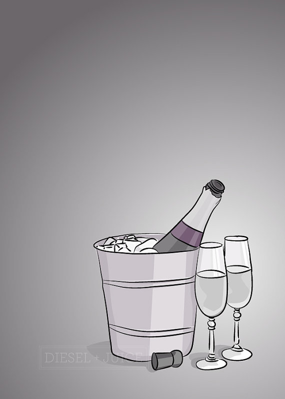 Purple Champagne - Illustrated Print - 8 x 10 Archival Matte