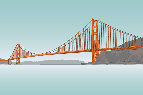 Golden Gate Bridge - Illustration - 8 x 10 Matte Print