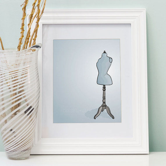 Blue Dress Form - Digitally Illustrated - 8 x 10 Archival Matte Print