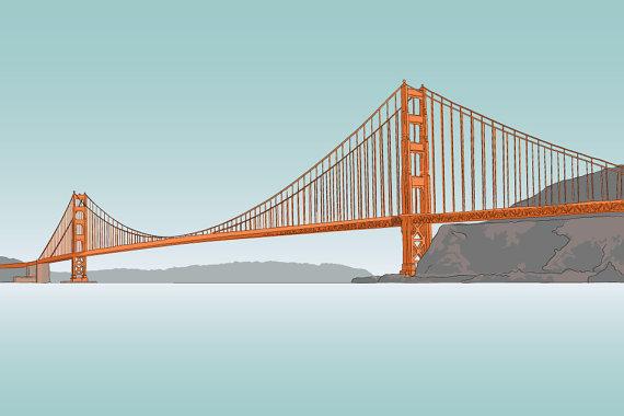 Golden gate bridge illustration 8 x 10 matte print on for Golden gate bridge jewelry